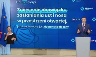 Trwa konferencja prasowa Premiera Mateusza Morawieckiego: Koniec z noszeniem maseczek ochronnych